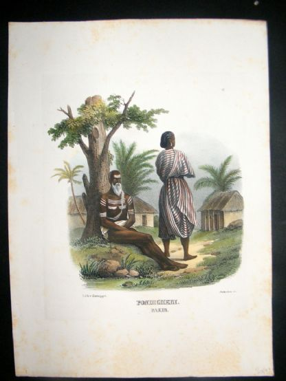 Schinz 1845 Antique Hand Col Print. Indian Fakir 19 | Albion Prints